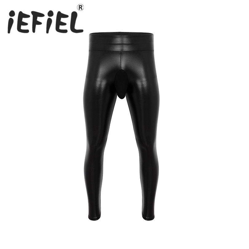 Fashion Mens Male Black Wetlook PU Leather Thin Velvet Lining Bulge Pouch Clubwear Pants Muscle Tights Long Exercise Pants