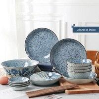 Новое поступление японском стиле творческий подглазурная Цвет Керамика дома Миски Детские Посуда комплект стейк блюдо западной блюдо Таре