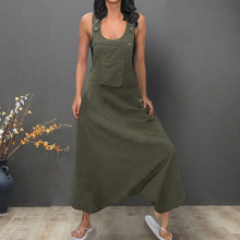 Plus Size Women Long Jumpsuits U Neck Sleeveless Backless Side Pockets Baggy Long Jumpsuits Spring Autumn Casual Jumpsuits L0527
