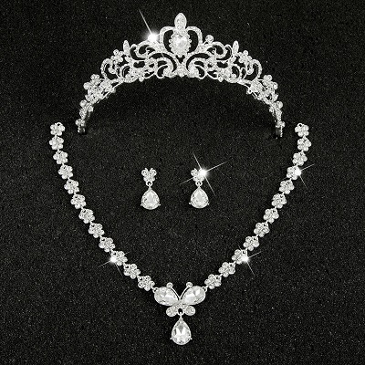 Hot Sale Sliver Plated Rhinestone Crystal Necklace+Earrings+Tiara 3pcs Jewelry Set For Bride Bridal Wedding Accessories (22)