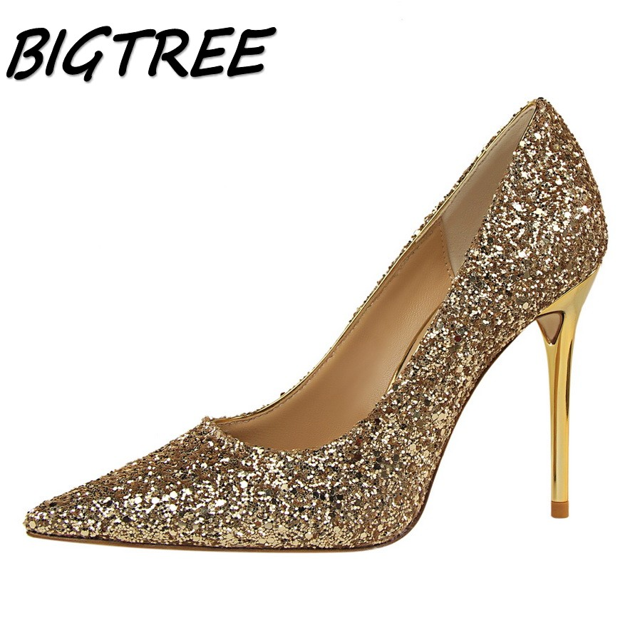 BIGTREE summer women Pointed Toe High heel shoes woman shallow pumps ladies Nightclub Sexy Sequined Thin Heels stilettos shoes spring summer sexy nightclub shallow mouth thin high heels pu leather buckle square toe pumps shoes fashion elegant silver pumps