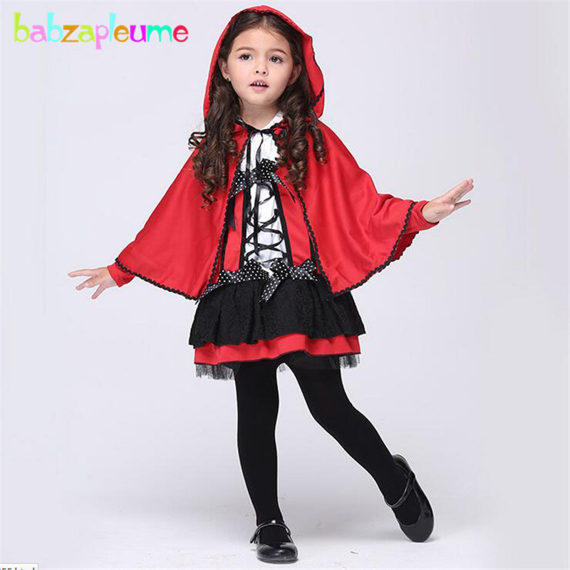 babzapleume Brand Girls Childrens Set Red Devil Halloween Cosplay Costume Kid Dress Hooded Cloak Toddler Christmas Clothes Y007