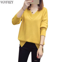 2019 Fashion Winter knitted Basic Sweaters Women V neck Loose Warm Soft Sweater Girl Pullovers Casual Sweater Female Tops