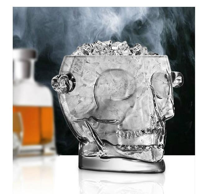1600ML Lead free Glass Skull Head Ice Bucket Decorative Glassware and Barware Craft Accessories for Whisky