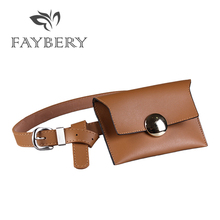 Fashion Fanny Pack Women Bag Belts for Waist PU Leather Simple Casual Belt Golden Round Buckle Retro Mobile Phone
