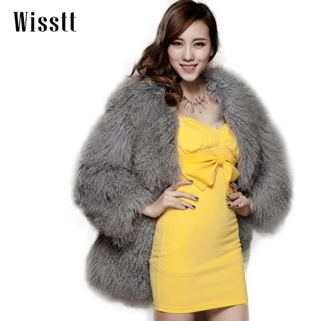 Wisstt  Fur Coat Real Mongolian Lamb Fur Long Sleeve Waistcoat Jacket Outwear