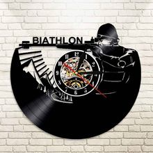 1Piece Biathlon Target Vinyl Clock Record Wall Clock Sport Led Backlight Modern Vintage Illuminated Home Decor Gift For Soldier(China)