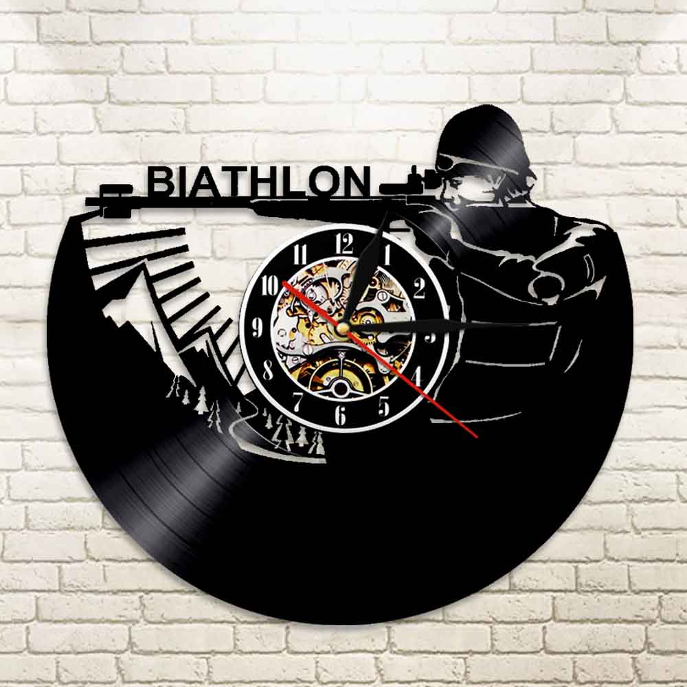 1Piece Biathlon Target Vinyl Clock Record Wall Clock Sport Led Backlight Modern Vintage Illuminated Home Decor Gift For Soldier