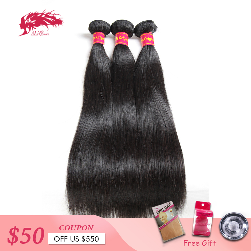 "Ali Queen Hair Products 3pcs Lot 10A Natural Color 8""~30"" In Stock Brazilian Virgin Hair Straight Human Hair Weave Bundles(China)"