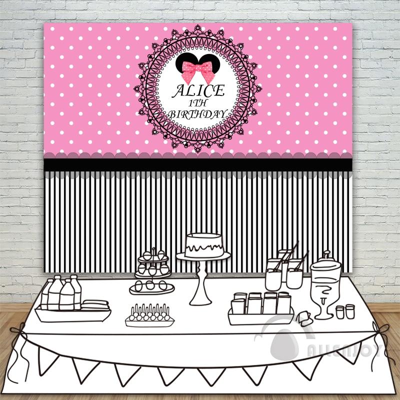 Filles 1th anniversaire décors bébé douche fond rose blanc cercle rayure Invitation fête Allenjoy personnaliser