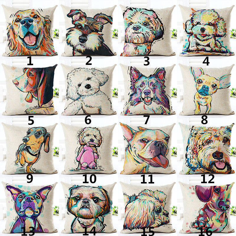 RECOLOUR hot sale Bulldog dachshund dog Square Linen Cushion case  Home decor Sofa Pillow Cover cojines decorativos para sofa