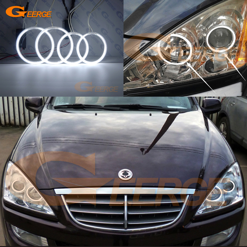For Ssangyong Kyron 2005-2014 Excellent angel eyes Ultra bright headlight illumination CCFL Angel Eyes kit Halo Ring for alfa romeo 147 2000 2001 2002 2003 2004 halogen headlight excellent ultra bright illumination ccfl angel eyes kit halo ring