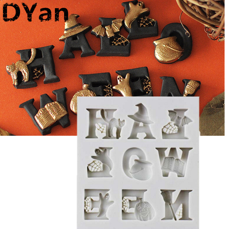 Halloween Letters Shape Silicone Cake Mold Halloween Alphabet Party Fondant Cake Decorating Tools Gumpaste Chocolate Mould A1368