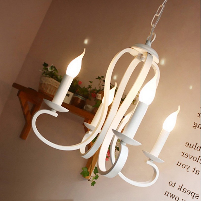 2018 New Korean Style Contracted Style Wrought Iron Pendant Light Foyer Light Coffee Shop Deco E14 Candle Lights Free Shipping new e14 arrival nordic cage pendant lamp abstract wrought iron pendant lights candle 4 light source ems free shipping