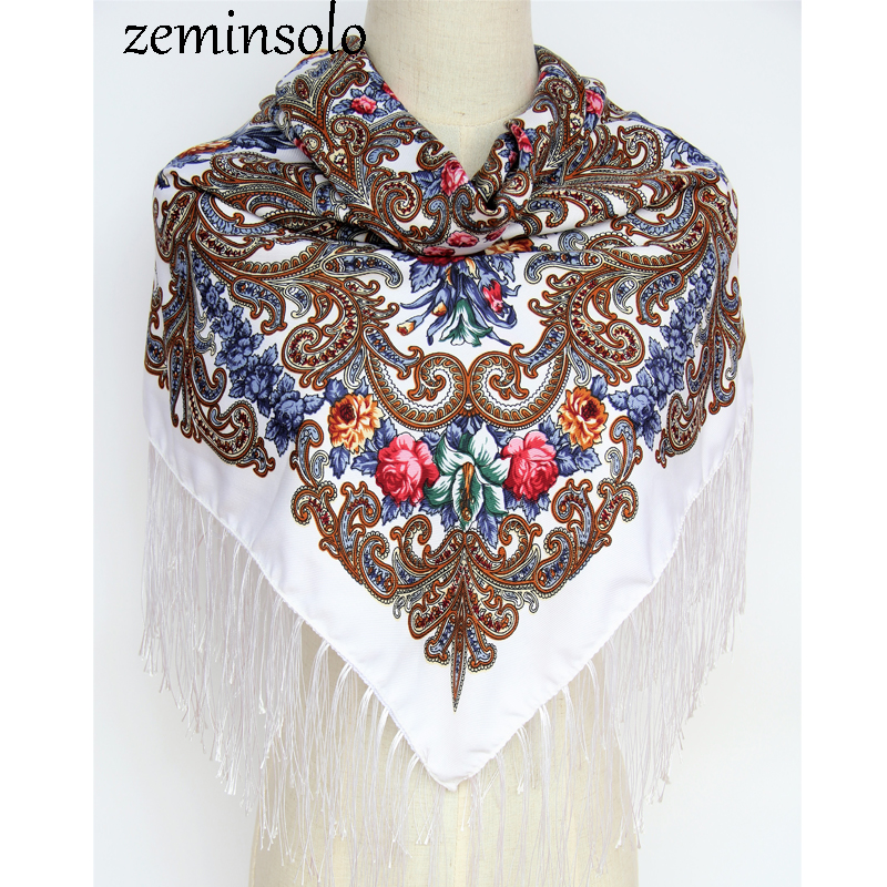 Hot Sale New Fashion Women   Scarf   Square Cotton   Scarves   Tassel   Scarf   Printed Women   Wraps   Bandana Winter Autumn Ladies Shawls