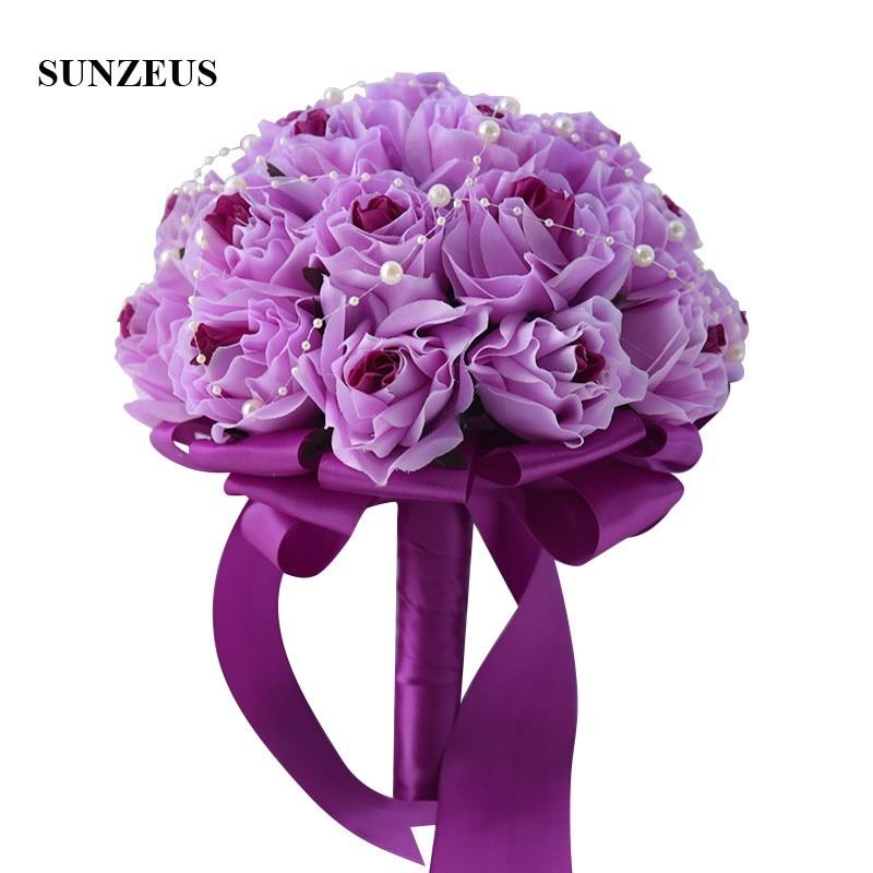 Artificial Handmade Purple Rose Flowers for Bridal Peals Elegant White Wedding Bouquet Satin Ribbons Wedding Accessories SWB23