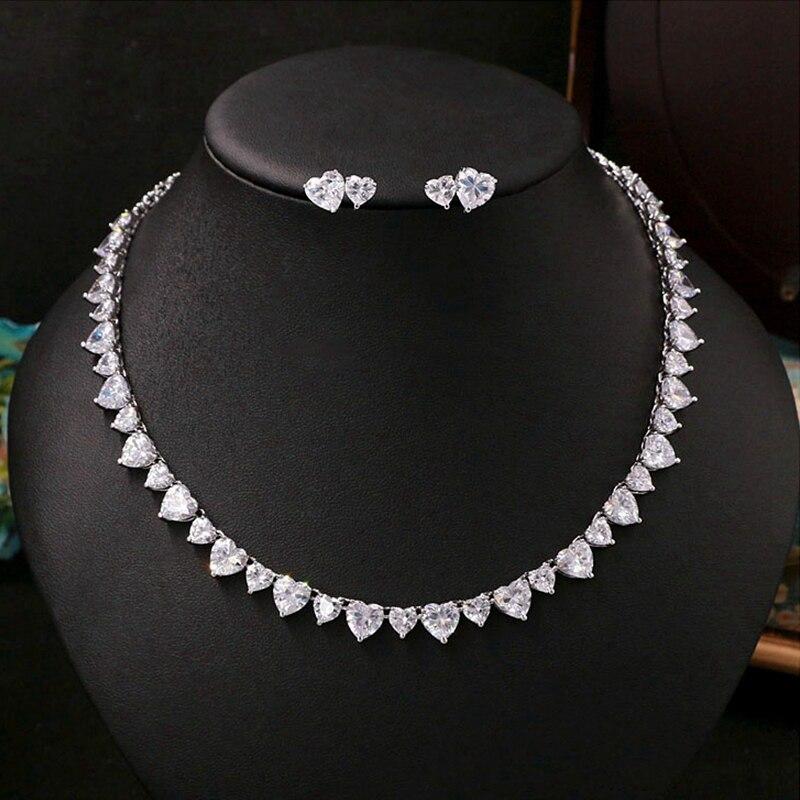 Zircon cubique rétro coeur cristal collier de mariée boucles d'oreilles bijoux strass mariage filles accessoires pour femmes