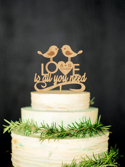 Love Bird Cake Topper Wedding Cake Topper Love Is All You Need Cake ...
