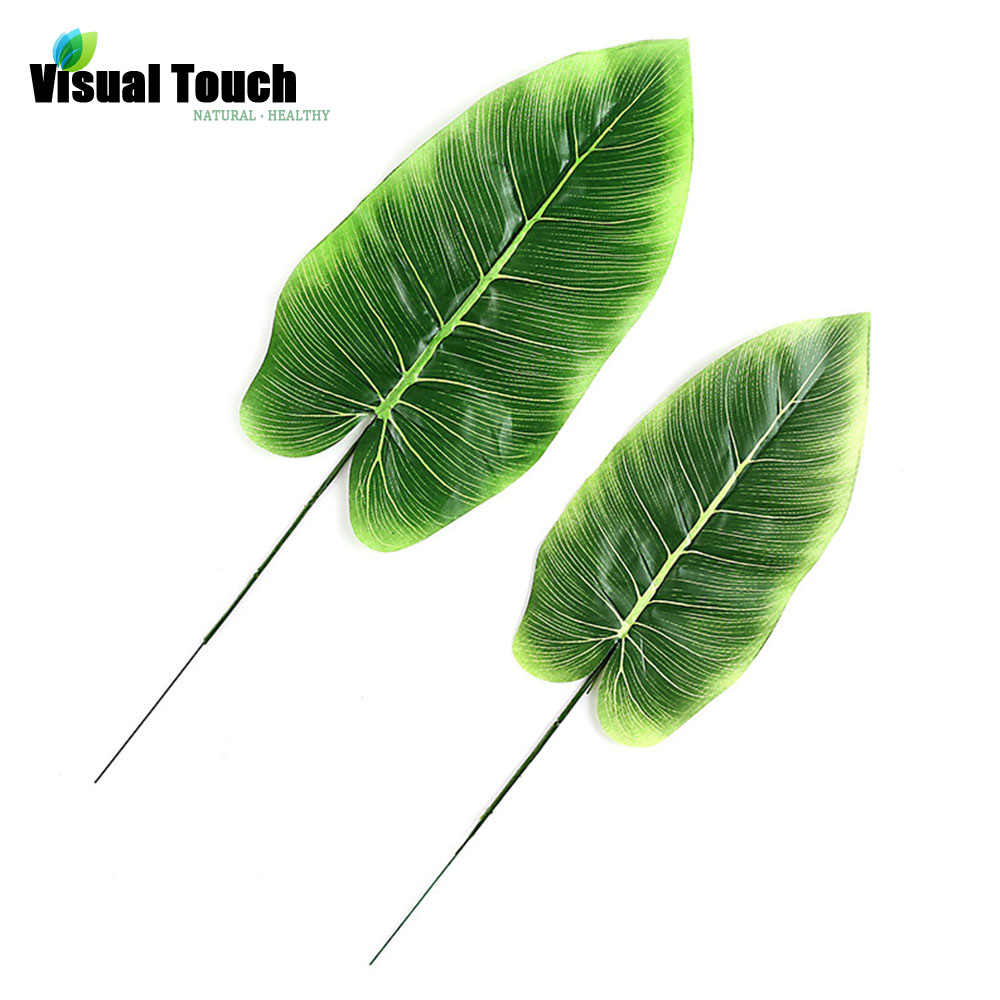 Visual Touch 12pcs Set Lots  Artificial Canna Leaf Tropical Leaves Simulation Leaf Luau Jungle Party Decorations DIY Photo Props