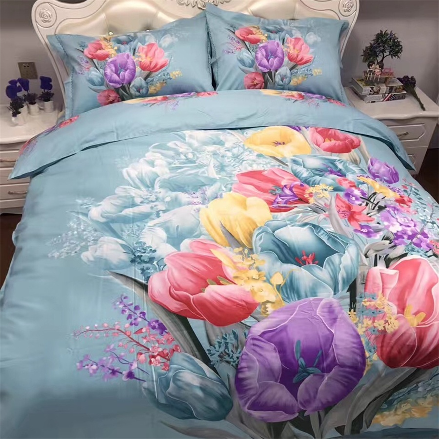 Colorful flower bedding - Watercolor Painting Colorful Tulip Flowers Blue Bedding Sets Queen Size Cotton Printed Duvet Cover Bed Sheets