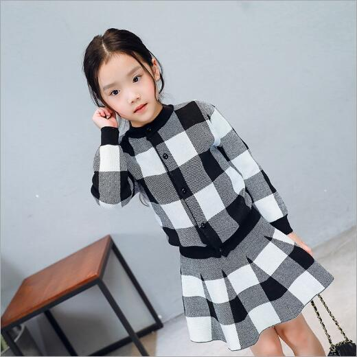 GARYDUCK Autumn Girls Clothing Sets Kids fashion Knitted Suits Long Sleeve Plaid Jackets+Skirts 2Pcs for Kids Suits