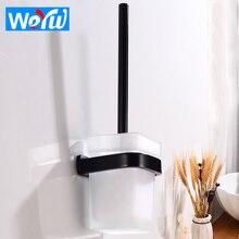 Creative Toilet Brush Holder Wall Mounted Aluminum Black Toilet Brush Holder Set Glass Cup Modern Bathroom Cleaning Brush Holder