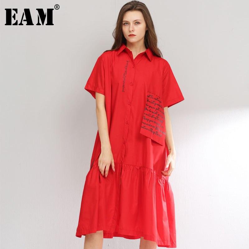 [EAM] 2019 New Spring Summer Lapel Short Sleeve Khaki Pattern Printed Pleated Pocket Big Size Shirt Dress Women Fashion JT310
