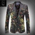 Феникс цветок 2017 новый продукт свадебный костюм высокого качества сочетание цена роскошный вельвет мужская печати blazer размер M-3XL