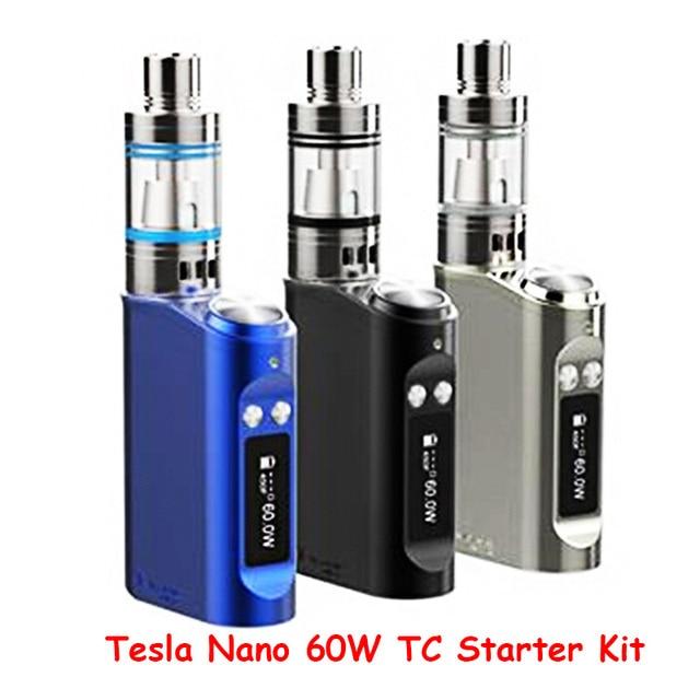 100% Аутентичные Tesla Nano 60 Вт ТК Box Mod Starter Kit 3600 мАч Батареи пара Mod с Торнадо Sub Ом Танк против kanger evod мега ГГ