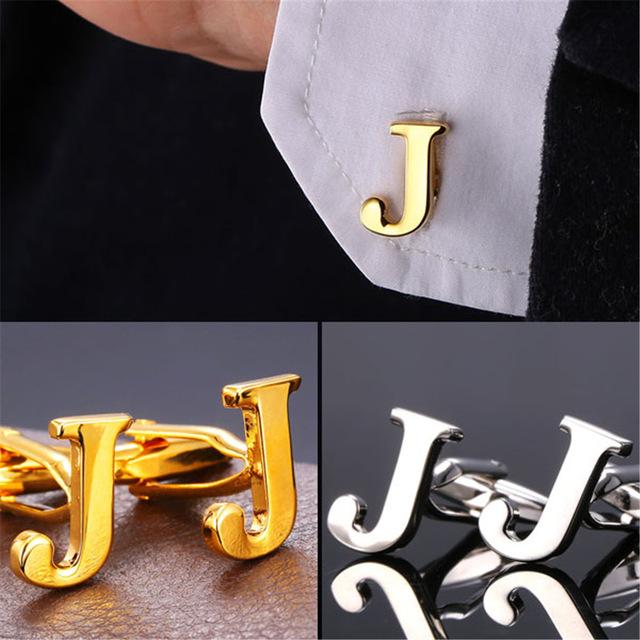 Alphabet J Letter Gold Silver CuffLink