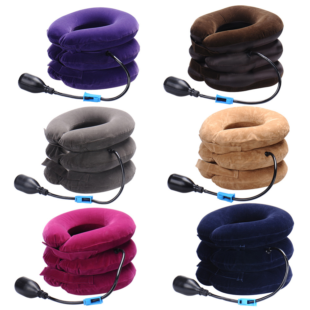 New Neck cervical traction device inflatable collar Head Bac