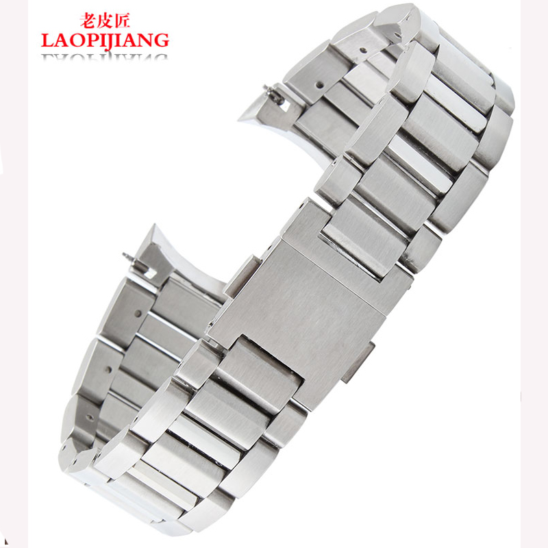New 22mm MEN High Brushed Stainless Steel Watchband BANDS Strap With Double Push Clasp Buckle