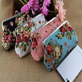 Rose canvas wallet large zip around wallet coin purse hand phone bag women walletsASL2069