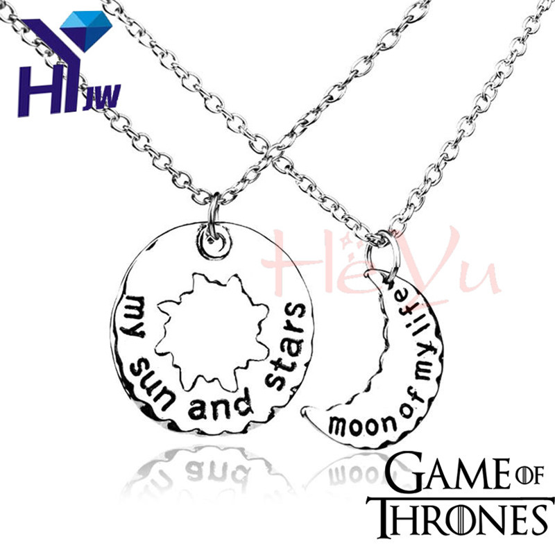 1 Pair of Khaleesi Necklaces Game of Thrones Necklace Moon of My Life Necklace Sun and Stars Couple Lover Pendent Necklace