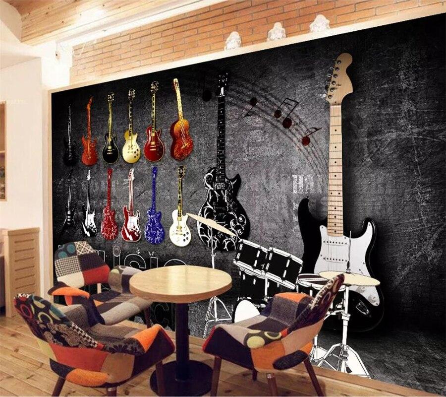 US $8.4 44% OFF|Beibehang Nach Wandbild Tapeten 3d Retro Nostalgischen Rock  Musical Instruments Tapeten Wohnzimmer Schlafzimmer Wandbild 3d tapete-in  ...