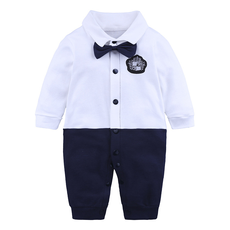 Baby Boy Clothes Gentleman Romper New Long Sleeve Jumpsuit Cotton Baby Clothing Infant Bow Tie Costume Handsome Baby Rompers in Rompers from Mother Kids