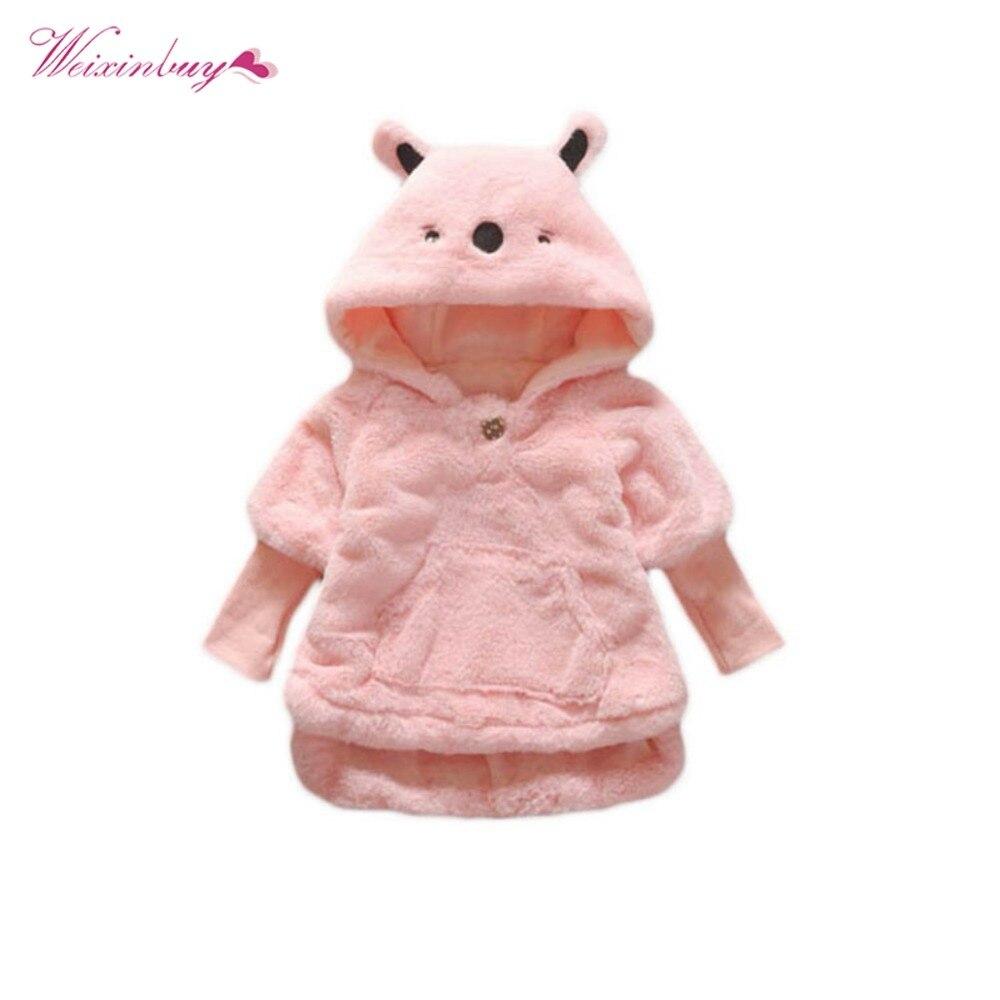 Baby Girl Coats Parka Winter Thick Velvet Baby Girls Snow Wear Infant Girls Outerwear Coat Bow Toddler Girls Clothing 3 colors