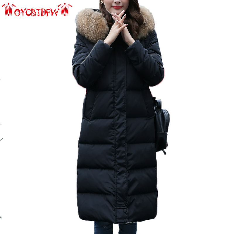 Winter women down jacket 2018 new Solid color medium long section thickening hooded high quality warm women down jacket ll647