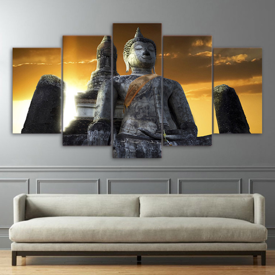 Poster For Living Room Modern HD Printed Pictures 5 Panel Huge Stone Buddha Statue Wall Art Home Decor Frame Canvas Painting