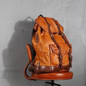 Image 3 - Мужской рюкзак из яловой кожи с растительным дублением, мужской рюкзак в стиле ретро, Большая вместительная сумка, мужские дорожные рюкзаки, новинка, оригинал 2020