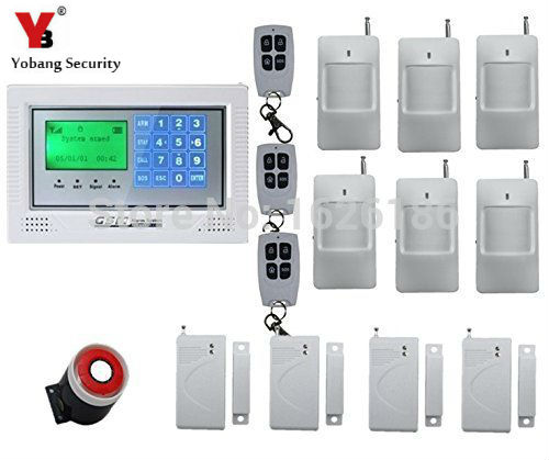 YobangSecurity Touch Screen Burglar Alarm System Wireless GSM AutoDial House Alarm Siren PIR Motion Door Window Gas Smoke Sensor yobangsecurity touch keypad wireless gsm sms smart home security burglar alarm system smoke sensor voice pir motion door window