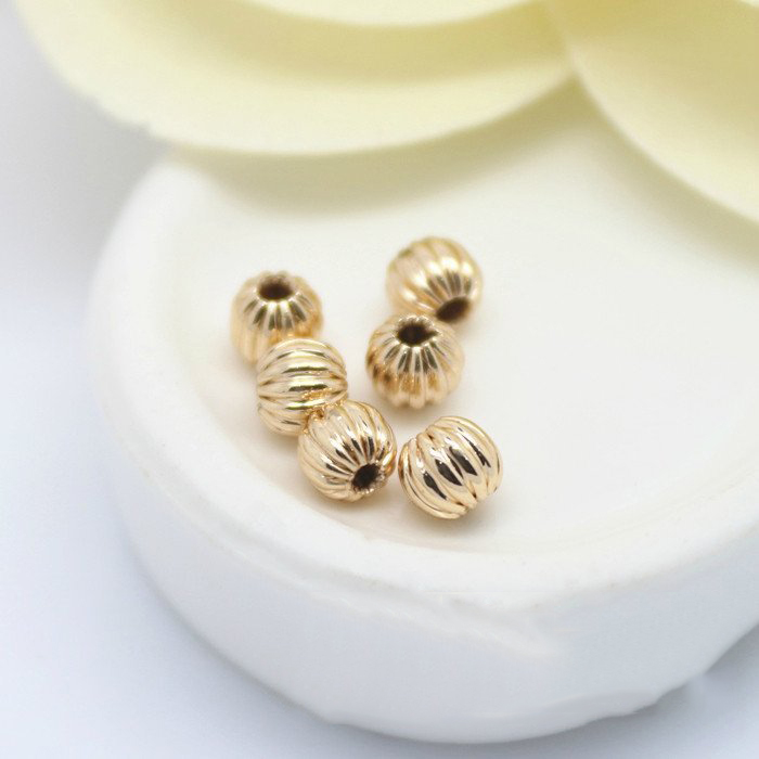 10PCS 4MM 6MM 8MM 24K Champagne Gold Color Plated Brass Pumpkin Spacer Beads High Quality Diy Jewelry Accessories image
