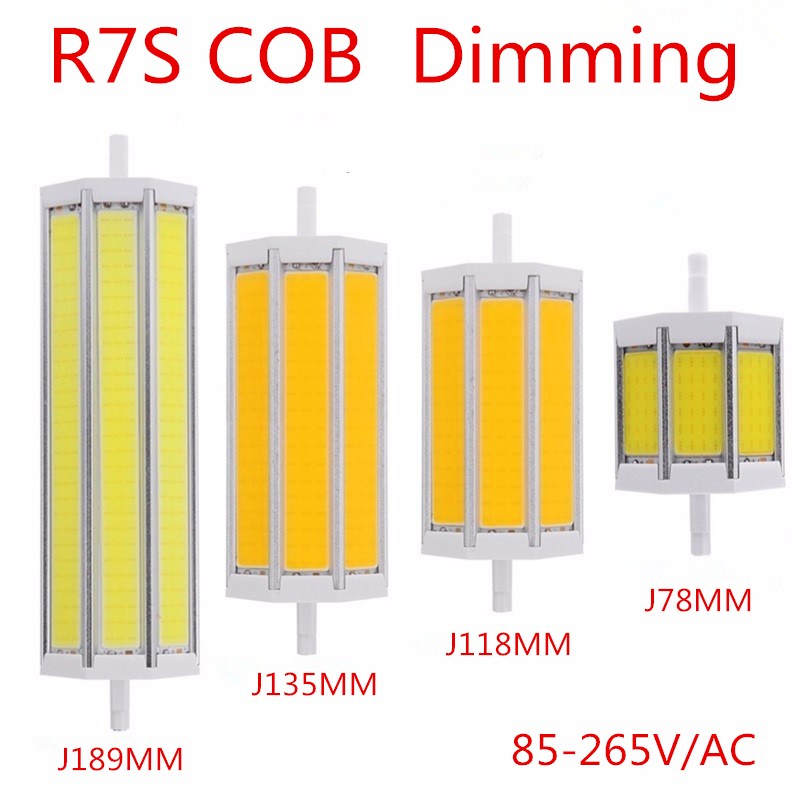 R7S COB Led Lamp Dimming Light SMD 10W 15W 20W 25W AC85V-265V Lampada Bulb J78MM J118MM J135MM J189MM replace halogen floodlight high power dimmable 189mm led r7s light 50w cob r7s led lamp with cooling fan replace 500w halogen lamp
