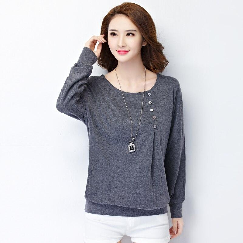 Autumn cotton t shirt women long sleeve loose blusa casual for White cotton long sleeve t shirt