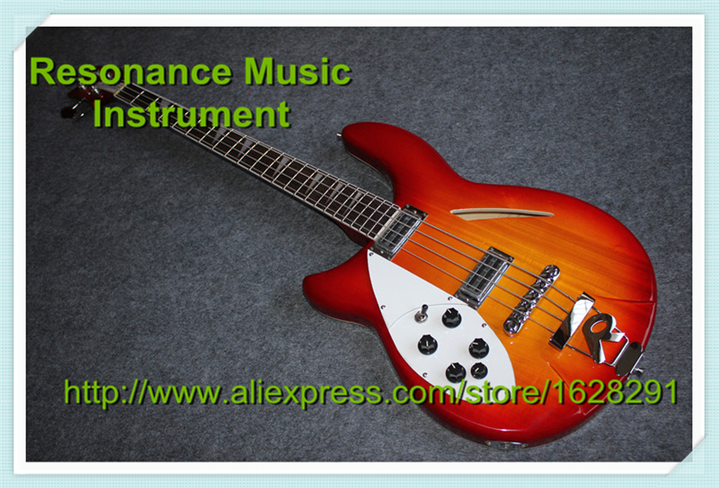 Custom Shop Left Handed 4 String Rick Electric Bass Guitar In Cherry Sunburst Chinese Hollow Guitars Body & Kit Custom Available high quality custom shop lp jazz hollow body electric guitar vibrato system rosewood fingerboard mahogany body guitar