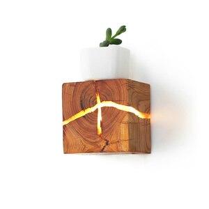 Image 3 - 유럽 스타일 아트 장식 LED 벽 램프 침실 머리맡 통로 실내 홈 전등 G4 나무 벽 램프 거실