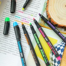 6 pcs Lumina pens fluorescent Highlighter for paper copy fax drawing Marker pen Stationery office material School supplies A6718