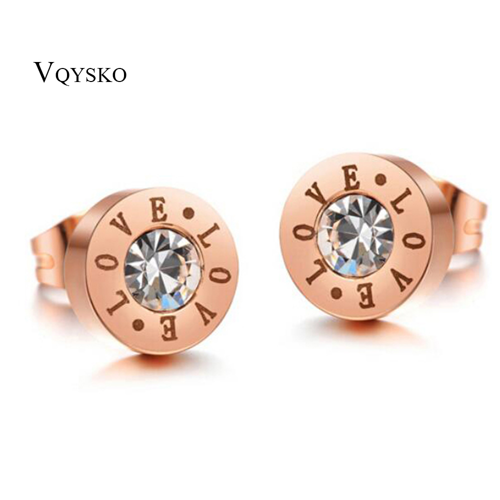 Double Love Stamp new style fashion 8mm Stainless Steel Rose Gold Color stud earrings