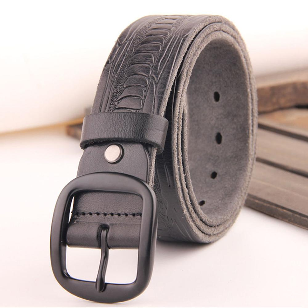 CUKUP Mens Top Quality Solid Cowskin Leather Belts Black Pin Buckle Metal Casual Styles Jeans Belt for Men 38mm Width NCK190