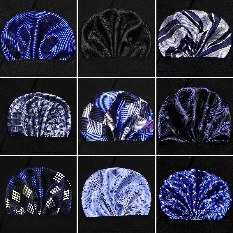 High Quality Hankerchief Scarves Vintage Jacquard Silk Hankies Men's Pocket SquareStriped Solid  Handkerchiefs  22*22cm
